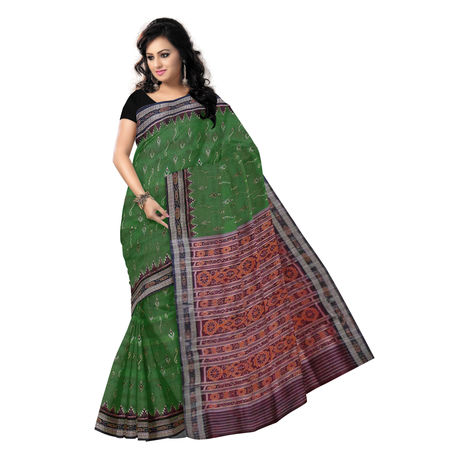 OSS504: Green color Handwoven pure sambalpuri silk sarees for festival wear.