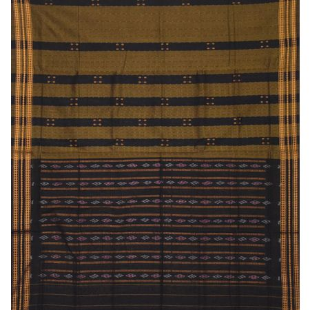 Light Chocolate With Black Handloom Booti Design Cotton Saree Of Odisha AJ001428