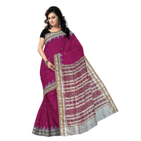 OSS5170: Handwoven Soft Pink with Off white Khandua Silk Saree.