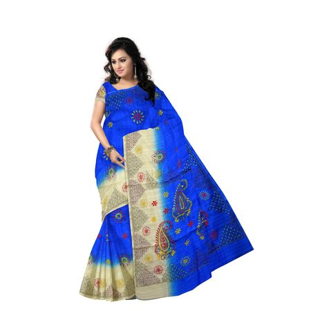 AJ000150: Ethnic Kantha Embroidery Work Handloom Silk Saree with Blousepiece.