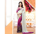 Vardhini Georgette Digital Print Saree (White and Pink)