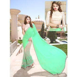 Vardhini Classy Chiffon Saree (Green and Beige)