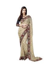 Vardhini Brasso Effect Saree Style 3 (Beige and Brown)