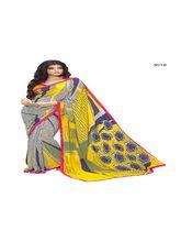 Vardhini Motif Print Georgette Saree (Yellow and Blue)