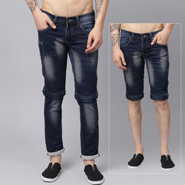 Stylox Men Blue Convertible Stretch Slim Fit Casual Wear Washed Jeans-DNM-MJBR-4128-02, 30