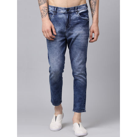 Stylox Men Blue Slim Fit Mid Rise Casual Wear Washed Ankle Length Jeans-DNM-ANKL-CLDD-4134-02, 36