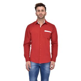 Stylox Men Solid Casual Maroon Shirt -SHT-P-MRN-058, s