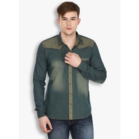 Stylox Men s Rust Denim Blue Casual Shirt(222), 46