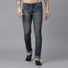 Stylox Men Blue Whisker Washed Slim Fit Jeans-DNM-BRNSPRY-4146-03, 34