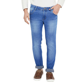 Stylox Premium Men Slim Fit Light Blue Washed Stretchable Jeans-DNM-LB-4106, 32