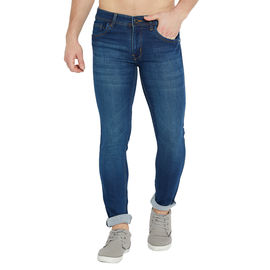 Stylox Men's Premium Stretchable Slim Fit Whisker Washed Heavy Lycra Blue Jeans-DNM-BLGR-4115, 32