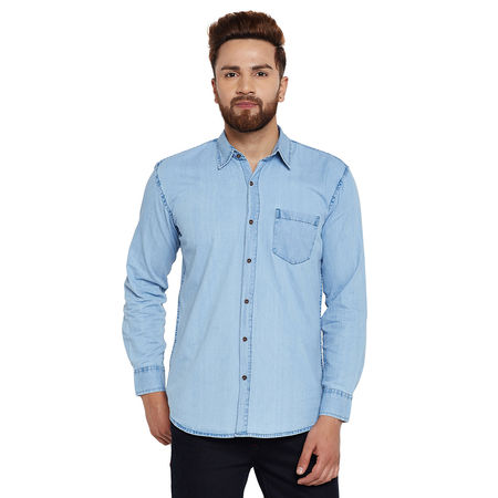 Stylox Men s Denim Ice Blue Casual Shirt-SHT-ICEBL-1061, l