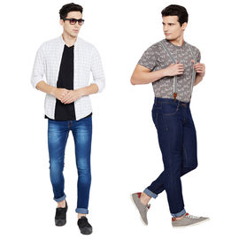 Stylox Men's Stylish Slim Fit MultiColor Casual Wear Jeans-DNM-COMBO2-1013-1002, 28