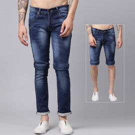 Stylox Men Blue Convertible 2 in 1 Stretch Slim Fit Casual Wear Washed Jeans-DNM-MJBL-4128-01, 32