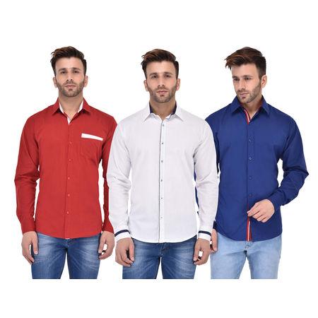 Stylox Men s Solid Formal Multicolor Shirt (Pack of 3) -SHT-C3-056-057-058, xxl