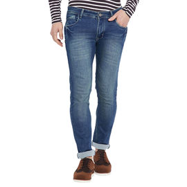 Stylox Men' s Premium Slim Fit Whisker Blue Stretchable Jeans-DNM-GRDP-4111-02, 30