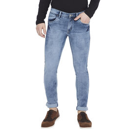 Stylox Men's Light Blue Washed Slim Fit Mid Rise Stretchable Jeans-DNM-GRY-4087-04, 34