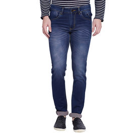 Stylox Men's Premium Dark Blue Mid Rise Cleans Look Stretchable Jeans-DNM-RST-4077, 34