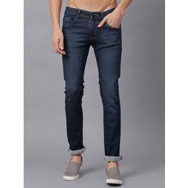 Stylox Men Mid Rise Dark Blue Whisker Jeans-DNM-DBL-4116, 30