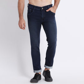 Stylox Men Slim Fit Mid Rise Dark Blue Jeans-5015, 30