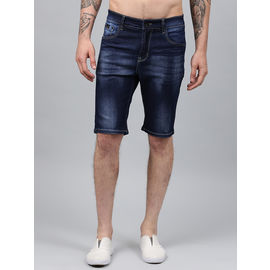 Stylox Men Dark Blue Whisker Stretchable Denim Shorts-SHORT-DBW-4140-05, 36