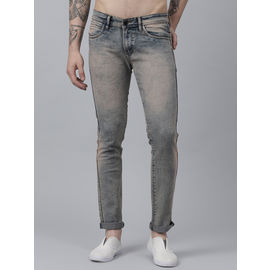 Stylox Men Cotton Lycra Mid Rise Whisker Tined Cloud Wash Jeans-DNM-RST-4146-01, 28