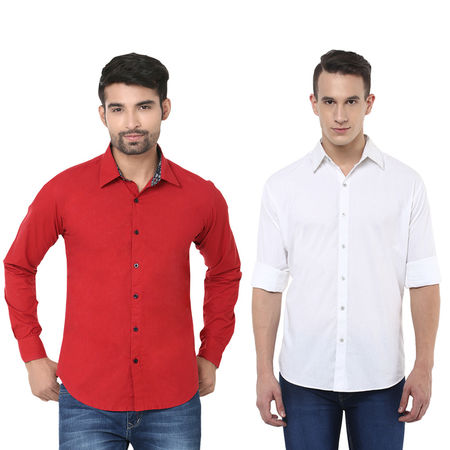 Stylox Men s Solid Formal Multicolor Shirt (Pack of 2) - SH-2CMBO-040-42, l