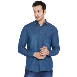 Stylox Men's Denim Dark Blue Casual Shirt-SHT-DB-1067, l