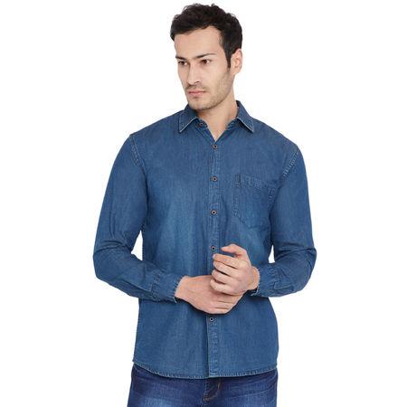 Stylox Men s Denim Dark Blue Casual Shirt-SHT-DB-1067, l