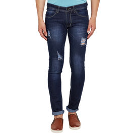 Stylox Men's Premium Stretchable Slim Fit Casual Wear Mid Rise Rough Jeans-DNM-GLDM-4059, 30