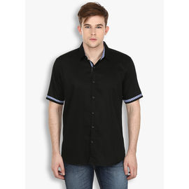 Stylox Men's Solid Black Casual Shirt(SHT034), 46