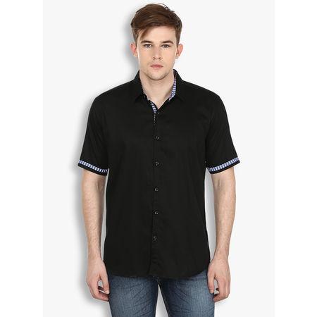 Stylox Men s Solid Black Casual Shirt(SHT034), 46