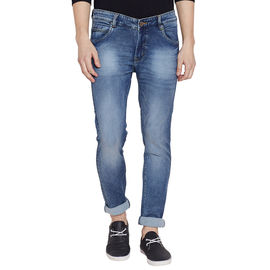 Stylox Men's Stylish Premium Stretchable Slim Fit Mid Rise Light Shaded Blue Jeans-DNM-BL-4086-01, 32