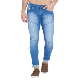 Stylox Men's Premium Stretchable Slim Fit Whisker Monkey Washed Blue Jeans-DNM-LB-4117-03, 36