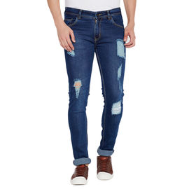 Stylox Men' s Premium Stretchable Casual Wear Slim Fit Mid-Rise Highly Damaged Jeans-GR-DM-4062, 36