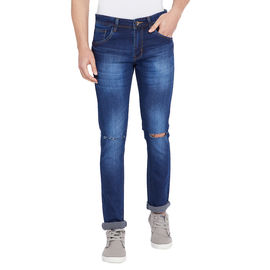 Stylox Men's Slim Fit Knee Slash Dark Blue Whisker Stretchable Jeans-DNM-BWSLT-4114, 32