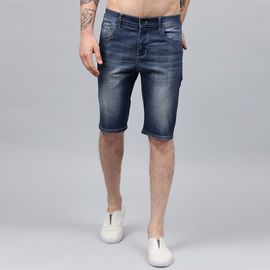 Stylox Men Blue Whisker Stretchable Denim Shorts-SHORT-GRN-4140-04, 36