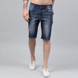 Stylox Men Blue Whisker Stretchable Denim Shorts-SHORT-GRN-4140-04, 36