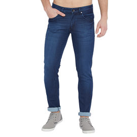 Stylox Men's Premium Stretchable Slim Fit Whisker Washed Blue Jeans-DNM-TLBL-4088-01, 28