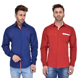 Stylox Men's Solid Casual Multicolor Shirt (Pack of 2) - SHT-056-58-2CMBO, m
