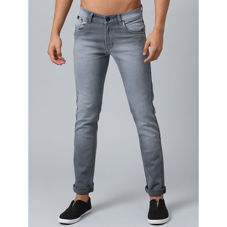 Stylox Men s Mid Rise Washed Whisker Grey Jeans-DNM-ODDGRY-4135-02, 30