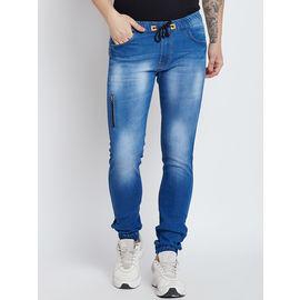Stylox Premium Men's Stretchable Slim Fit Mid Rise Light Blue Jogger-JGR-LB-9012-01, 36