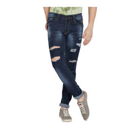 Stylox Men' s Premium Stretchable Casual Wear Slim Fit Mid-Rise Highly Damaged Jeans-GRY-DMG-4063, 30