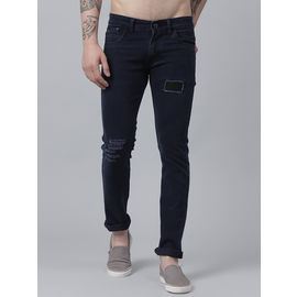 Stylox Men Raymond Mid Rise Knee Slit Blue Jeans-DNM-RWDMG-4138-02, 30