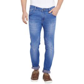 Stylox Men' s Premium Slim Fit Blue Cat Scratch Stretchable Jeans-DNM-SCRB-4110, 36
