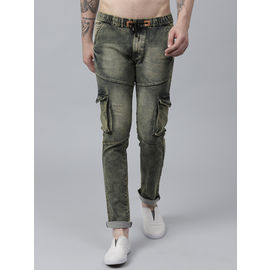 Stylox Men Cotton Lycra Mid Rise Whisker Tinted Cloud Wash Green Jogger-DNM-JGRGRN-4133-04, 32