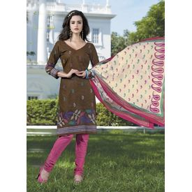 Pure Cotton Suits - Brown Churidar Salwar Kameez