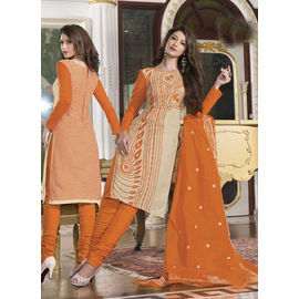 Orange Fancy Cotton Churidar Salwar Suit