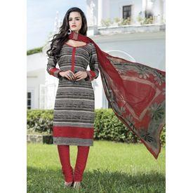 Stylish Daily Wear Grey Cotton Salwar Suit with Dupatta