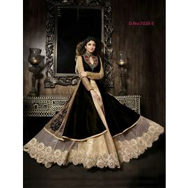 Designer Shilpa Shetty Original karma Black Color Dress with Golden White Net